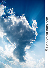 wolke, mit, sonnenschein