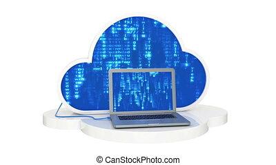wolke, rechnen, laptop