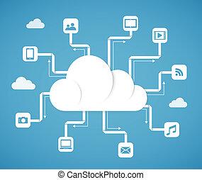 wolke, rechnen, technologie, abstrakt, schema