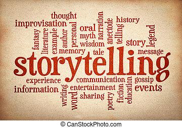 wolke, storytelling, geschichte, wort