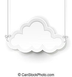wolke, symbol, weißer hintergrund, hängender