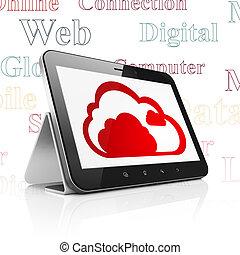 wolke, technologie, concept:, tablette, edv, mit, wolke, anzeige