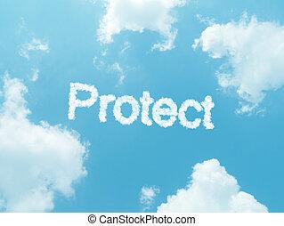 wolke, wörter, mit, design, auf, blauer himmel, hintergrund