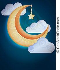 wolken, achtergrond, maan