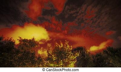 wolken, binnen zich beweegt, een, hemel, op de avond
