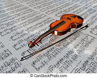 wolken, blad, weerspiegelen, muziek, viool, achtergrond
