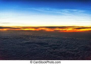 wolken, boven, zonopkomst