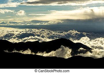 wolken, hoogte, verbreidingsgebied, hoog, ecuadoriaans, andes
