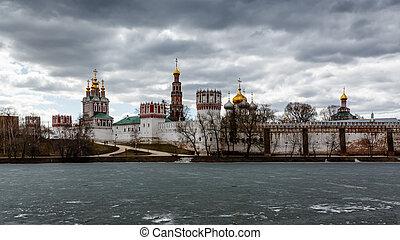 wolken, klooster, novodevichy, dramatisch, boven, moskou, rusland