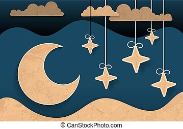 wolken, maan, pluizig, midnight.origami, papier, sterretjes, kunst, style.