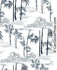 wolken, model, japanner, seamless, vector, bamboe