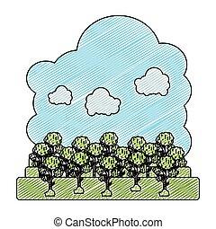 wolken, natuur, doodle, pluizig, bomen, landscape