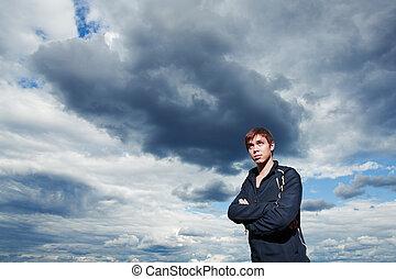 wolken, natuur, jonge, gespierd, mooi, man
