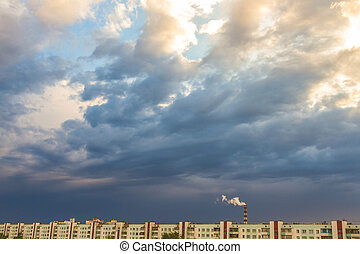 wolken, op, hemel