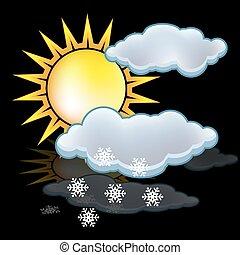 wolken, sneeuw, zon
