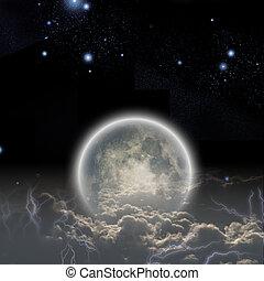wolken, sterretjes, maan