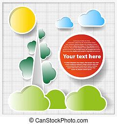 wolken, technisch, abstract, bomen, papier, achtergrond