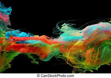 wolken, van, helder, kleurrijke, inkt, vermenging, in, water