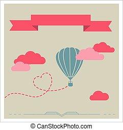wolken, vliegen, vector, retro, aerostat, kaart
