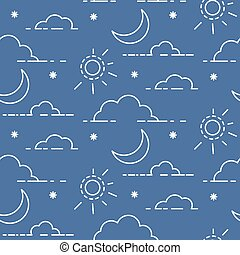 wolken, zon, pattern., seamless, vector, hemel