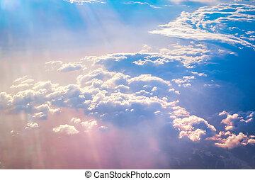 wolken, zonopkomst, boven