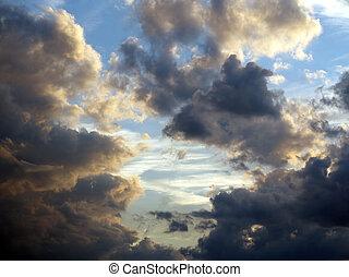wolkengebilde, dramatisch, himmelsgewölbe