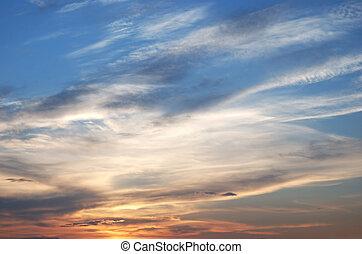 wolkenhimmel, auf, abend, himmelsgewölbe
