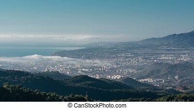 wolkenhimmel, aus, malaga, zeit- versehen, andalusien, spanien