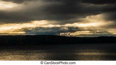 wolkenhimmel, dramatisch, FEHLER, -, schlechte, Wetter,...