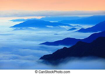 wolkenhimmel, dramatisch, silhouette, berg