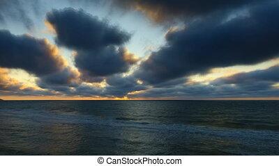wolkenhimmel, FEHLER, schnell, Bewegen, Zeit, Sonnenuntergang