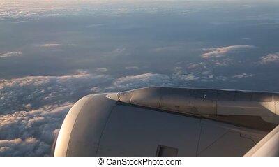 wolkenhimmel, flug, aus, deutschland