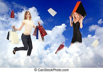 wolkenhimmel, frauen, säcke, collage, shoppen, weißes