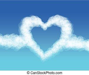 wolkenhimmel, herz, auf, himmelsgewölbe, hintergrund., vektor
