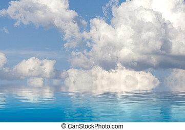 wolkenhimmel, himmelsgewölbe, reflektiert, sea., spain., gelassen