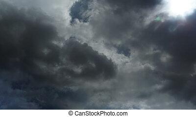 wolkenhimmel, himmelsgewölbe, schlechte, Wetter, 4k, während...