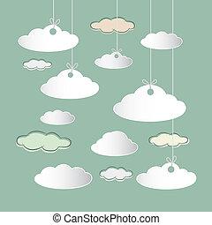 wolkenhimmel, himmelsgewölbe, vektor, retro, hintergrund,...
