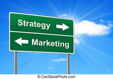 wolkenhimmel, marketing, zeichen, strategie, hintergrund, sunburst., straße
