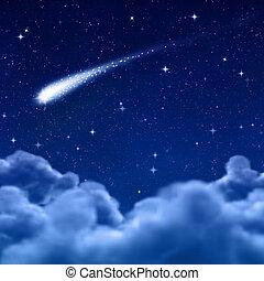 wolkenhimmel, raum, himmelsgewölbe, durch, nacht, oder