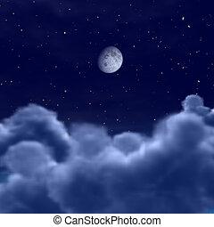 wolkenhimmel, raum, himmelsgewölbe, mond, durch, nacht, oder