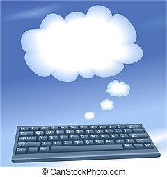wolkenhimmel, rechnen, edv, vortrag halten , tastatur, blase, wolke