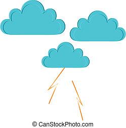 wolkenhimmel, regen, blitz