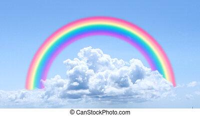 wolkenhimmel, regenbogen