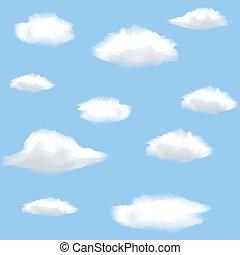 wolkenhimmel, seamless, hintergrund, sky.