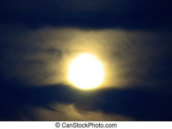 wolkenhimmel, sky., mond, menge, nacht, klein