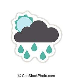 wolkenhimmel, sonne, aufkleber, regen, papier, hintergrund, weißes
