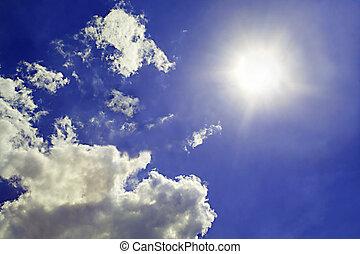 wolkenhimmel, sonne, himmelsgewölbe, hintergrund., 2, hintergrund