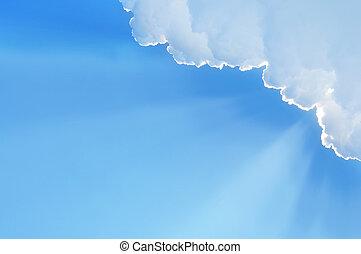 wolkenhimmel, sonnenstrahl
