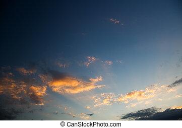 wolkenhimmel, sonnenuntergang