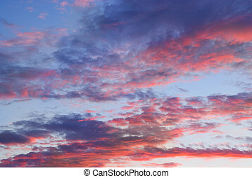 wolkenhimmel, sonnenuntergang, zeit